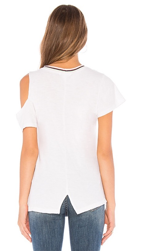 LNA Uni White Cut Out Shoulder With Stripe Collar Tee 2