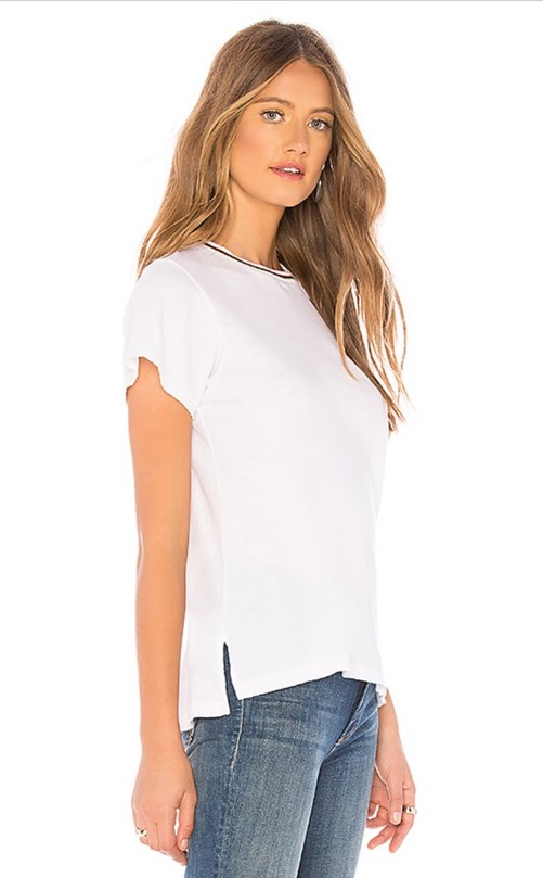 LNA Uni White Cut Out Shoulder With Stripe Collar Tee 3