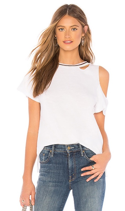 LNA Uni White Cut Out Shoulder With Stripe Collar Tee 4