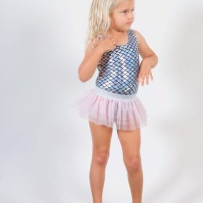 Metallic Mermaid Scale Swimsuit & Tutu Skirt Set