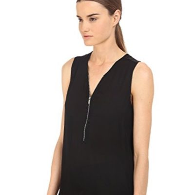 Georgette Silk Zip Front Sleeveless Top