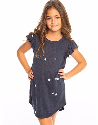 All Over Star Flutter Sleeve Dress