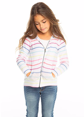 Rainbow Stripe Zip Up Hoodie