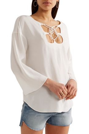 Mirrored Lace Up Blouse