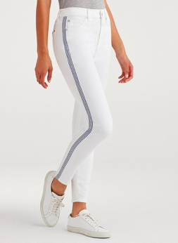 High Waist Ankle Skinny With Stripe At Seams