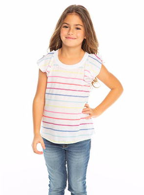 Rainbow Stripe Flutter Sleeve Tee