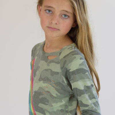 Camo Rainbow Striped Top