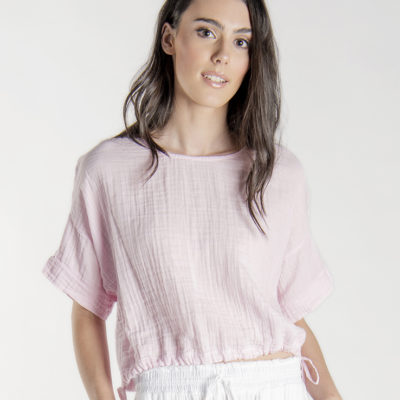 Drawstring Gauze Top