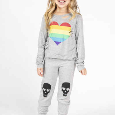 Distressed Rainbow Heart Long Sleeve