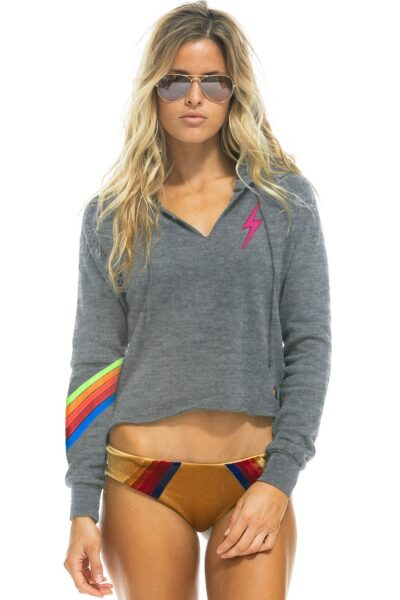 Bolt Stitch Chevron 5 Split Neck Crop Hoodie
