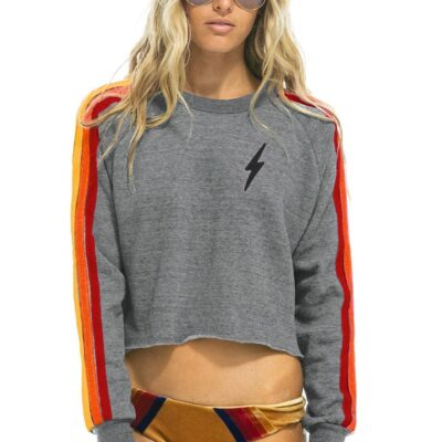 Bolt Embroidery Classic Cropped Crew Sweatshirt